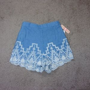 GB Embroidered Shorts Junior Medium Blue